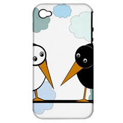 Black and white birds Apple iPhone 4/4S Hardshell Case (PC+Silicone)