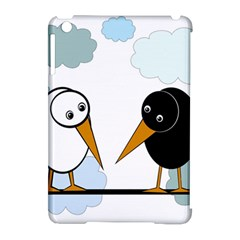 Black and white birds Apple iPad Mini Hardshell Case (Compatible with Smart Cover)