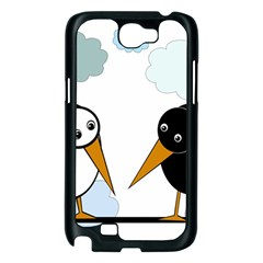 Black and white birds Samsung Galaxy Note 2 Case (Black)