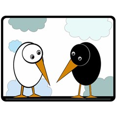 Black and white birds Double Sided Fleece Blanket (Large)
