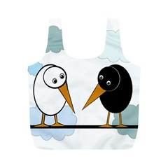 Black and white birds Full Print Recycle Bags (M)