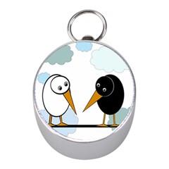 Black and white birds Mini Silver Compasses