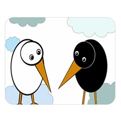 Black and white birds Double Sided Flano Blanket (Large)