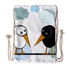 Black and white birds Drawstring Bag (Large)