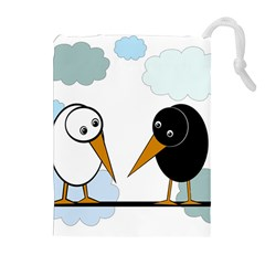 Black and white birds Drawstring Pouches (Extra Large)