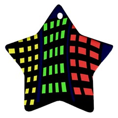 Colorful abstract city landscape Ornament (Star)