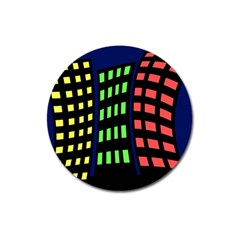 Colorful abstract city landscape Magnet 3  (Round)