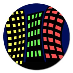 Colorful abstract city landscape Magnet 5  (Round)