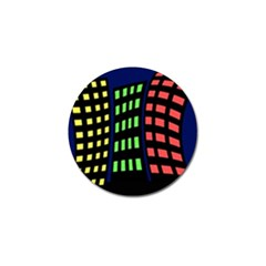 Colorful abstract city landscape Golf Ball Marker