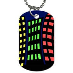 Colorful abstract city landscape Dog Tag (Two Sides)