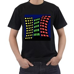 Colorful abstract city landscape Men s T-Shirt (Black) (Two Sided)