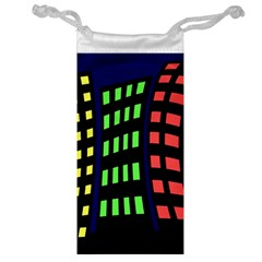 Colorful abstract city landscape Jewelry Bags