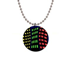 Colorful abstract city landscape Button Necklaces