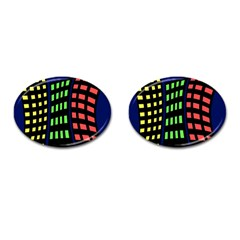 Colorful abstract city landscape Cufflinks (Oval)