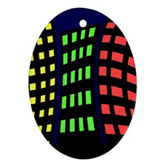 Colorful abstract city landscape Oval Ornament (Two Sides)