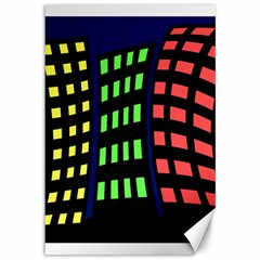 Colorful abstract city landscape Canvas 12  x 18