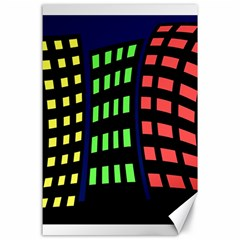 Colorful abstract city landscape Canvas 24  x 36
