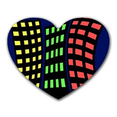 Colorful abstract city landscape Heart Mousepads