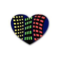 Colorful abstract city landscape Rubber Coaster (Heart)
