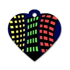 Colorful abstract city landscape Dog Tag Heart (One Side)