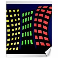 Colorful abstract city landscape Canvas 11  x 14