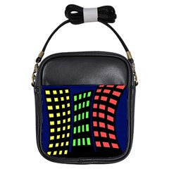 Colorful abstract city landscape Girls Sling Bags