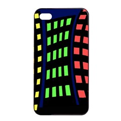Colorful abstract city landscape Apple iPhone 4/4s Seamless Case (Black)