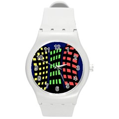 Colorful abstract city landscape Round Plastic Sport Watch (M)