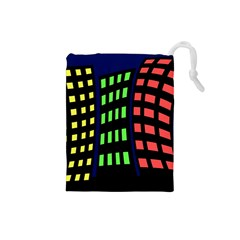 Colorful abstract city landscape Drawstring Pouches (Small)
