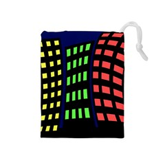 Colorful abstract city landscape Drawstring Pouches (Medium)