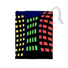 Colorful abstract city landscape Drawstring Pouches (Large)