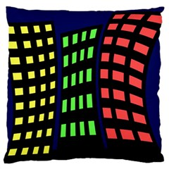 Colorful abstract city landscape Large Flano Cushion Case (One Side)