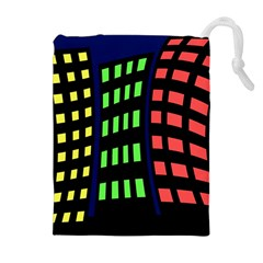 Colorful abstract city landscape Drawstring Pouches (Extra Large)