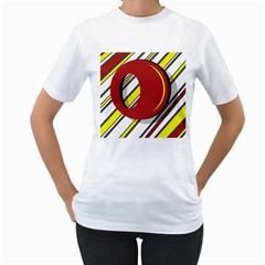 Red and yellow design Women s T-Shirt (White) (Two Sided)