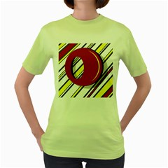 Red and yellow design Women s Green T-Shirt