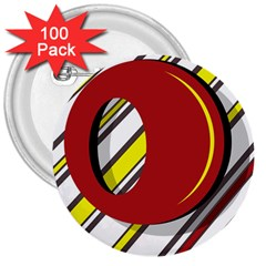 Red and yellow design 3  Buttons (100 pack)