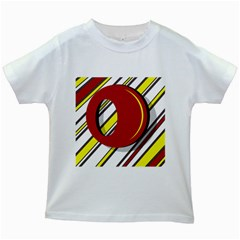 Red and yellow design Kids White T-Shirts