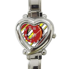 Red and yellow design Heart Italian Charm Watch