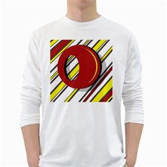 Red and yellow design White Long Sleeve T-Shirts