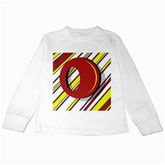 Red and yellow design Kids Long Sleeve T-Shirts
