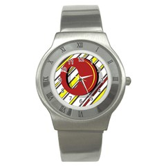 Red and yellow design Stainless Steel Watch