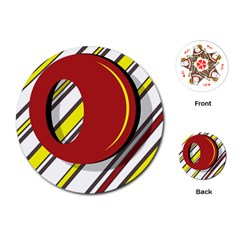 Red and yellow design Playing Cards (Round)