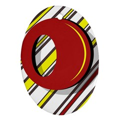 Red and yellow design Oval Ornament (Two Sides)