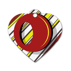 Red and yellow design Dog Tag Heart (Two Sides)