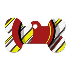 Red and yellow design Dog Tag Bone (One Side)