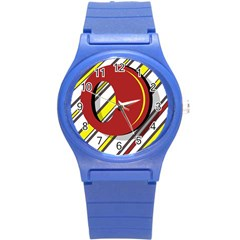 Red and yellow design Round Plastic Sport Watch (S)