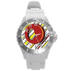 Red and yellow design Round Plastic Sport Watch (L)