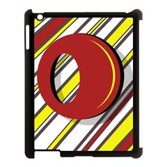 Red and yellow design Apple iPad 3/4 Case (Black)