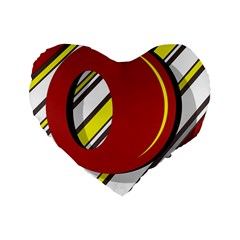 Red and yellow design Standard 16  Premium Heart Shape Cushions