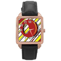 Red and yellow design Rose Gold Leather Watch
